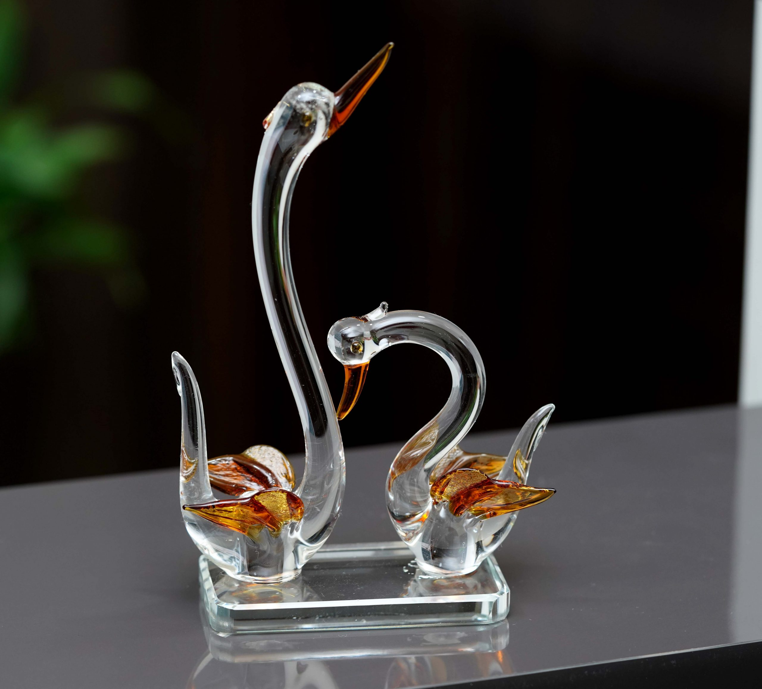 for The Home Decorative showpiece with Transparent Glass Material Bathakh Pair