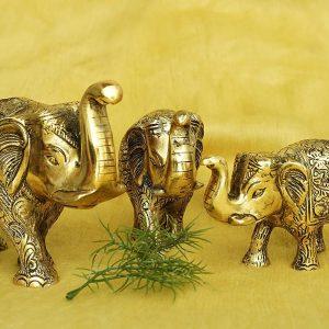Metal Elephant Statues Set of 3