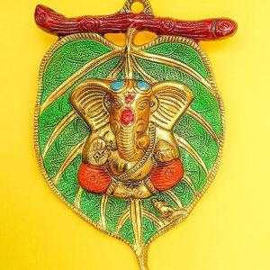 Metal Design Lord Ganesha on Leaf