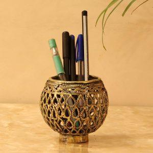 Dhokra Art Brass Pen Stand