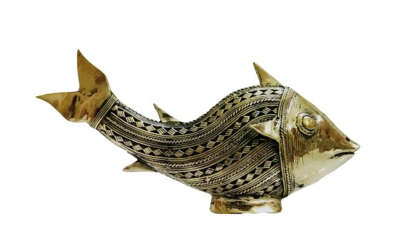 Metal Figurine of Small Netted Golden Fish for Home Decor