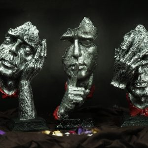 Handmade Three Modern Human Faces Statue