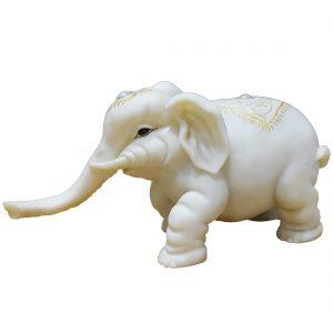 Marble Elephant Statue Murti Figurine for Home Decor